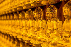 Pattern of golden wood carving buddha sculpture on chinese temple wall Royalty Free Stock Image