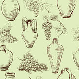 Pattern with a grape and jugs Stock Images