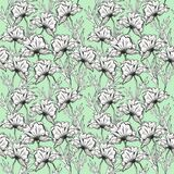 Pattern of graphic flowers with decor on a colored background