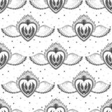 Pattern graphic illustration Beautiful holy heart with mystic and occult symbols. Esoteric boho style. Vector stock illustration