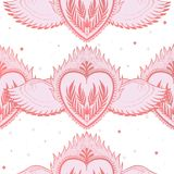 Pattern graphic illustration Beautiful holy heart with mystic and occult symbols. Esoteric boho style. Vector royalty free stock images