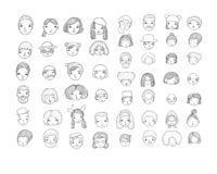 Pattern with graphical faces. Vector illustration. Set of people icons royalty free stock photos
