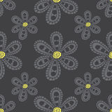Pattern gray cartoon flowers Stock Photo