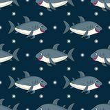 Pattern with Gray cartoon shark. Seamless pattern with Gray cartoon shark.Isolated image on white background.Cute marine vector illustration for kids.Ocean Royalty Free Stock Photo