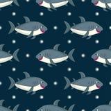 Pattern with Gray cartoon shark. Seamless pattern with Gray cartoon shark.Isolated image on white background.Cute marine vector illustration for kids.Ocean Vector Illustration