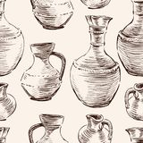 Pattern of the greek jugs sketches. Seamless background of the old clay pots Stock Photography
