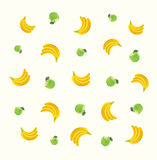 Pattern with green apples and bananas Royalty Free Stock Photography