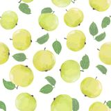 Pattern with green apples Royalty Free Stock Photos