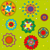 Pattern on a green background circles color. Patterns ethnic Royalty Free Stock Images
