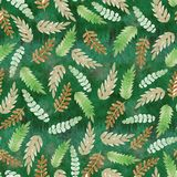 Green pattern with leaves vector illustration