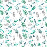 Pattern with green and blue leaves vector illustration