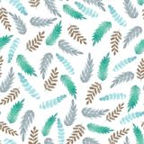 Pattern with green and blue leaves stock illustration