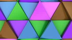 Pattern of green, brown, purple and blue triangle prisms. Wall of prisms. Abstract 3d background. 3D rendering illustration Stock Photos
