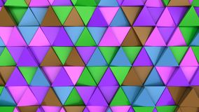 Pattern of green, brown, purple and blue triangle prisms. Wall of prisms. Abstract 3d background. 3D rendering illustration Stock Photo