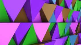 Pattern of green, brown, purple and blue triangle prisms. Wall of prisms. Abstract 3d background. 3D rendering illustration Royalty Free Stock Images