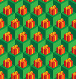 Pattern green cubes red gifts. Vector seamless pattern with isometric green cubes and red gift boxes Stock Photo
