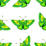 Pattern green exotic butterfly with yellow, blue and red spots stock illustration