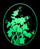 Pattern green flower of glass on black background Stock Photo