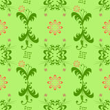 Pattern green flower red abstraction graphic Royalty Free Stock Photography