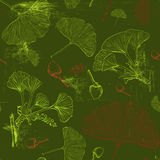 Pattern with green Ginkgo leaves Stock Photo