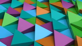Pattern of green, orange, purple and blue triangle prisms. Wall of prisms. Abstract 3d background. 3D rendering illustration Stock Photography