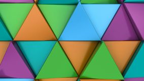 Pattern of green, orange, purple and blue triangle prisms. Wall of prisms. Abstract 3d background. 3D rendering illustration Stock Image