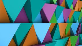 Pattern of green, orange, purple and blue triangle prisms. Wall of prisms. Abstract 3d background. 3D rendering illustration Royalty Free Stock Photo