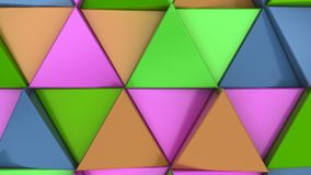 Pattern of green, orange, purple and blue triangle prisms. Wall of prisms. Abstract 3d background. 3D rendering illustration Royalty Free Stock Photos