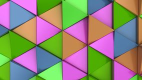 Pattern of green, orange, purple and blue triangle prisms. Wall of prisms. Abstract 3d background. 3D rendering illustration Royalty Free Stock Photography