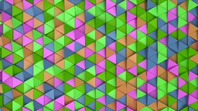 Pattern of green, orange, purple and blue triangle prisms. Wall of prisms. Abstract 3d background. 3D rendering illustration Stock Photos
