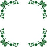Pattern with green floral frame. Pattern with green ornamental floral frame on the white background, vector illustration Stock Images