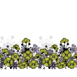 Pattern of green poppies and flowers background Stock Image