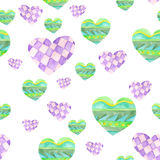 Pattern with green and purple hearts with geometric tracery painted in watercolor on a white background Stock Images