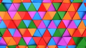 Pattern of green, red, purple and blue triangle prisms. Wall of prisms. Abstract 3d background. 3D rendering illustration Royalty Free Stock Photo