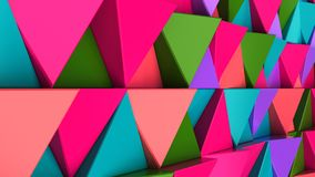 Pattern of green, red, purple and blue triangle prisms. Wall of prisms. Abstract 3d background. 3D rendering illustration Royalty Free Stock Images