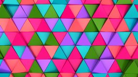 Pattern of green, red, purple and blue triangle prisms. Wall of prisms. Abstract 3d background. 3D rendering illustration Royalty Free Stock Photography