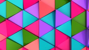 Pattern of green, red, purple and blue triangle prisms. Wall of prisms. Abstract 3d background. 3D rendering illustration Royalty Free Stock Photos