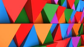 Pattern of green, red, purple and blue triangle prisms. Wall of prisms. Abstract 3d background. 3D rendering illustration Stock Photo