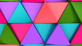Pattern of green, red, purple and blue triangle prisms. Wall of prisms. Abstract 3d background. 3D rendering illustration Stock Photography