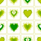 Pattern with green spring Hearts, . Stock Photo