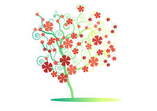 The pattern green tree with red flower on white background , vector ,illustration,image Royalty Free Stock Image