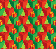Pattern green trees red gifts. Vector seamless pattern with isometric cubes, red gift boxes and green Christmas trees Stock Photo