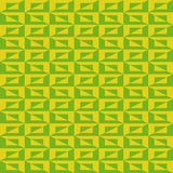 Pattern with green and yellow rectangles and triangles Stock Image