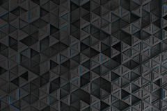 Pattern of grey triangle prisms with blue glowing lines Royalty Free Stock Images