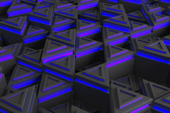 Pattern of grey triangle prisms with blue glowing lines Stock Photography