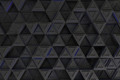Pattern of grey triangle prisms with blue glowing lines Royalty Free Stock Photo