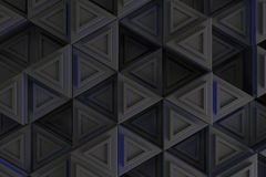 Pattern of grey triangle prisms with blue glowing lines Royalty Free Stock Photos