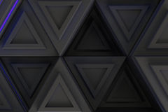 Pattern of grey triangle prisms with blue glowing lines Stock Image