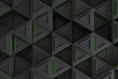 Pattern of grey triangle prisms with green glowing lines Royalty Free Stock Image