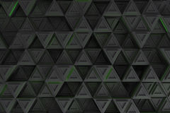 Pattern of grey triangle prisms with green glowing lines Royalty Free Stock Photo